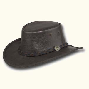Brown Faux Leather Hat